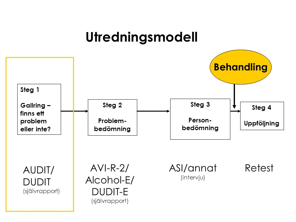 Utredningsmodell Behandling AUDIT/ DUDIT AVI-R-2/ Alcohol-E/ DUDIT-E