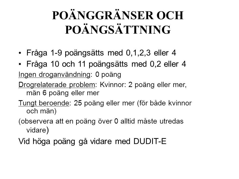 POÄNGGRÄNSER OCH POÄNGSÄTTNING
