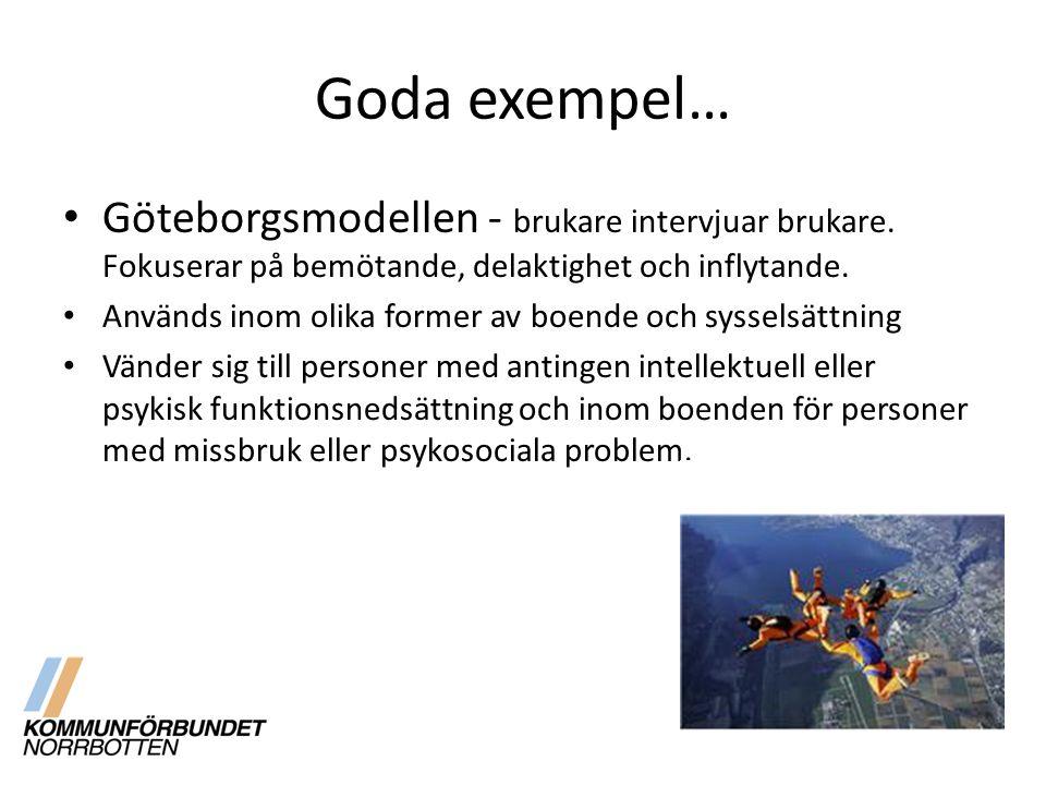 Goda exempel… Göteborgsmodellen - brukare intervjuar brukare. Fokuserar på bemötande, delaktighet och inflytande.