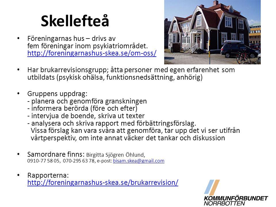 Skellefteå Föreningarnas hus – drivs av fem föreningar inom psykiatriområdet. http://foreningarnashus-skea.se/om-oss/