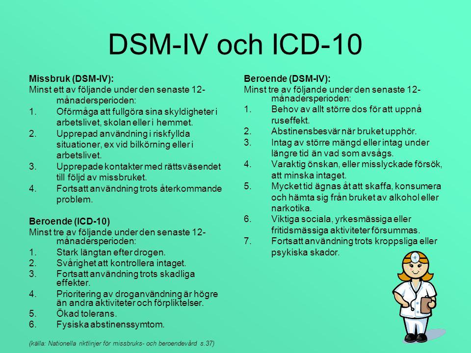 DSM-IV och ICD-10 Missbruk (DSM-IV):