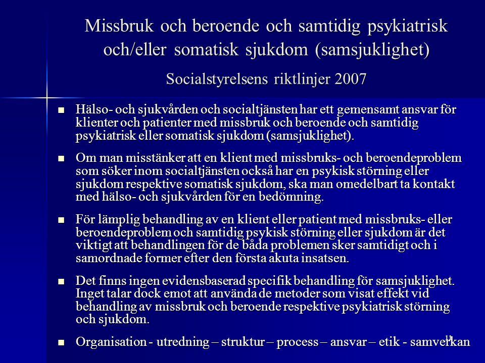 Missbruk och beroende och samtidig psykiatrisk och/eller somatisk sjukdom (samsjuklighet) Socialstyrelsens riktlinjer 2007