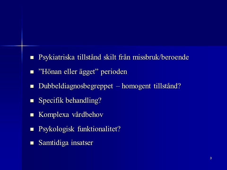 Psykiatriska tillstånd skilt från missbruk/beroende