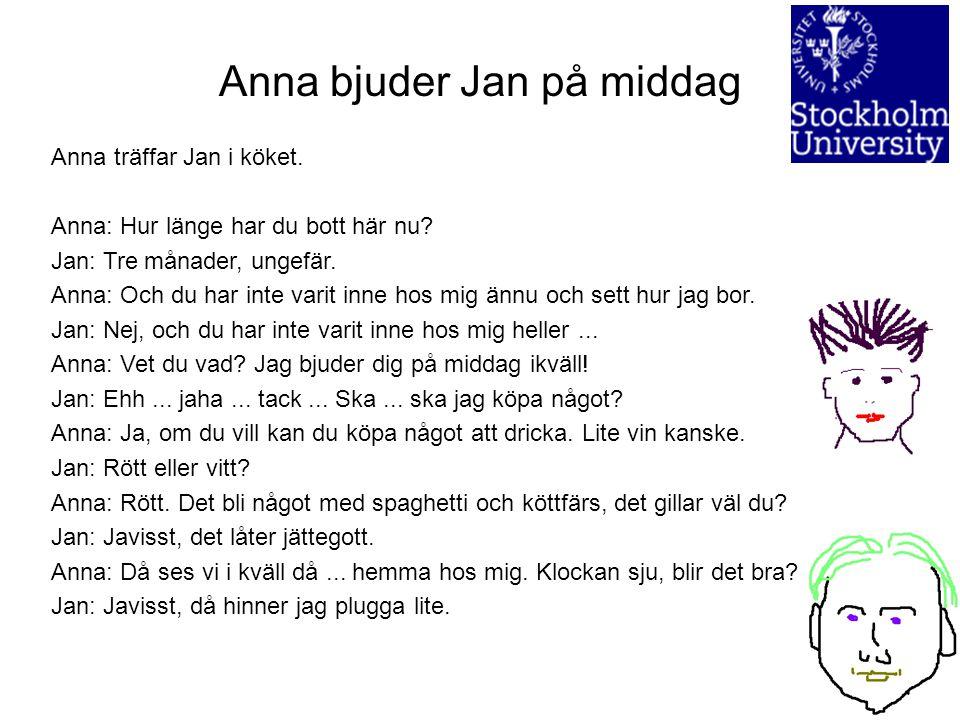 Anna bjuder Jan på middag
