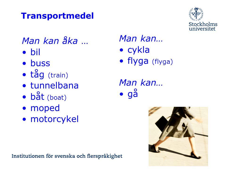 Man kan… Man kan åka … cykla bil flyga (flyga) buss tåg (train)