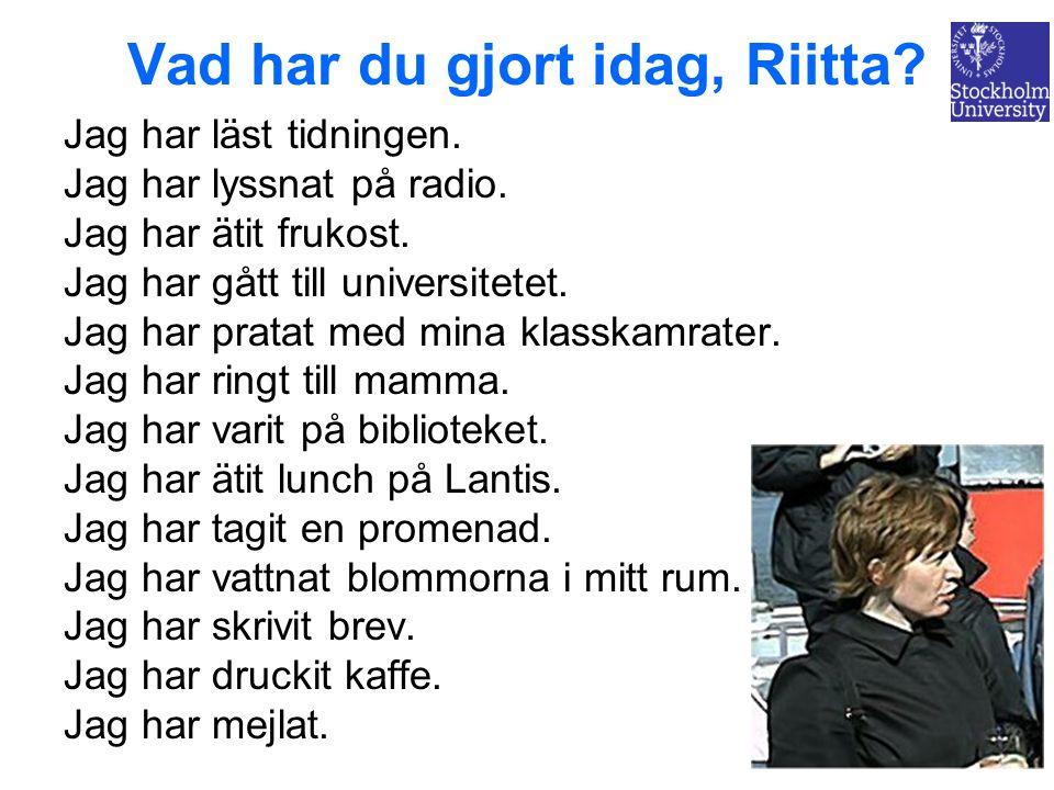 Vad har du gjort idag, Riitta