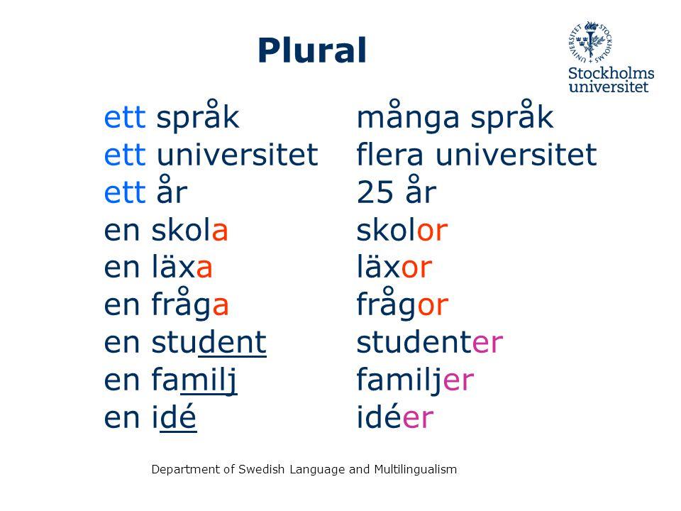 Plural ett språk ett universitet ett år en skola en läxa en fråga