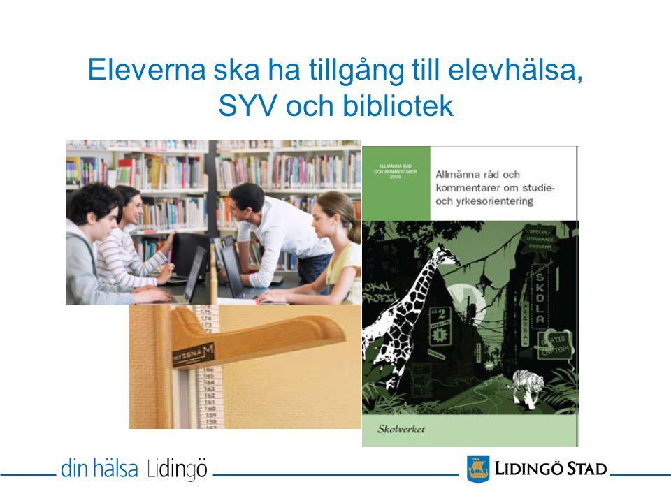 Eleverna ska ha tillgång till elevhälsa, SYV och bibliotek