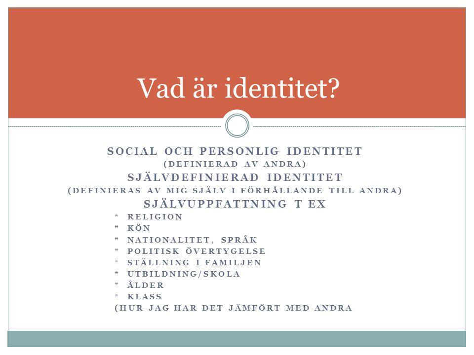 Vad är identitet Social och personlig identitet