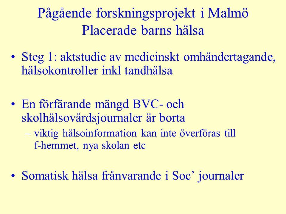 Pågående forskningsprojekt i Malmö Placerade barns hälsa