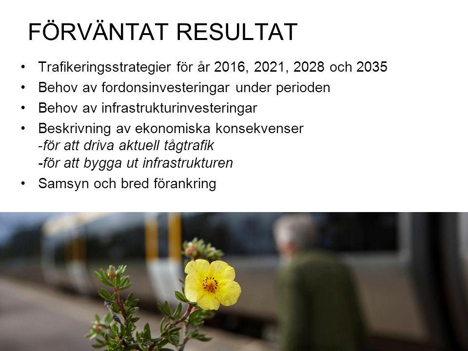 FÖRVÄNTAT RESULTAT Trafikeringsstrategier för år 2016, 2021, 2028 och 2035. Behov av fordonsinvesteringar under perioden.