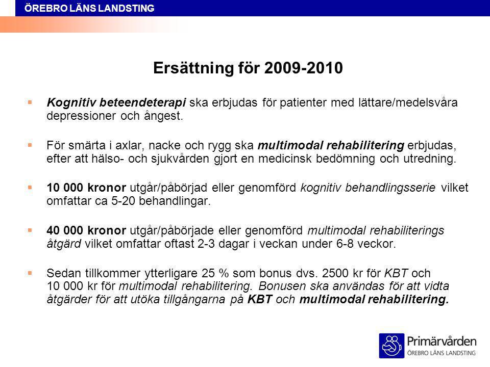 Ersättning för 2009-2010 Kognitiv beteendeterapi ska erbjudas för patienter med lättare/medelsvåra depressioner och ångest.