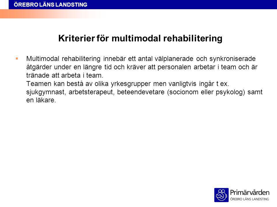 Kriterier för multimodal rehabilitering