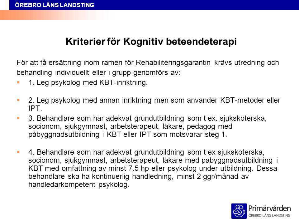 Kriterier för Kognitiv beteendeterapi