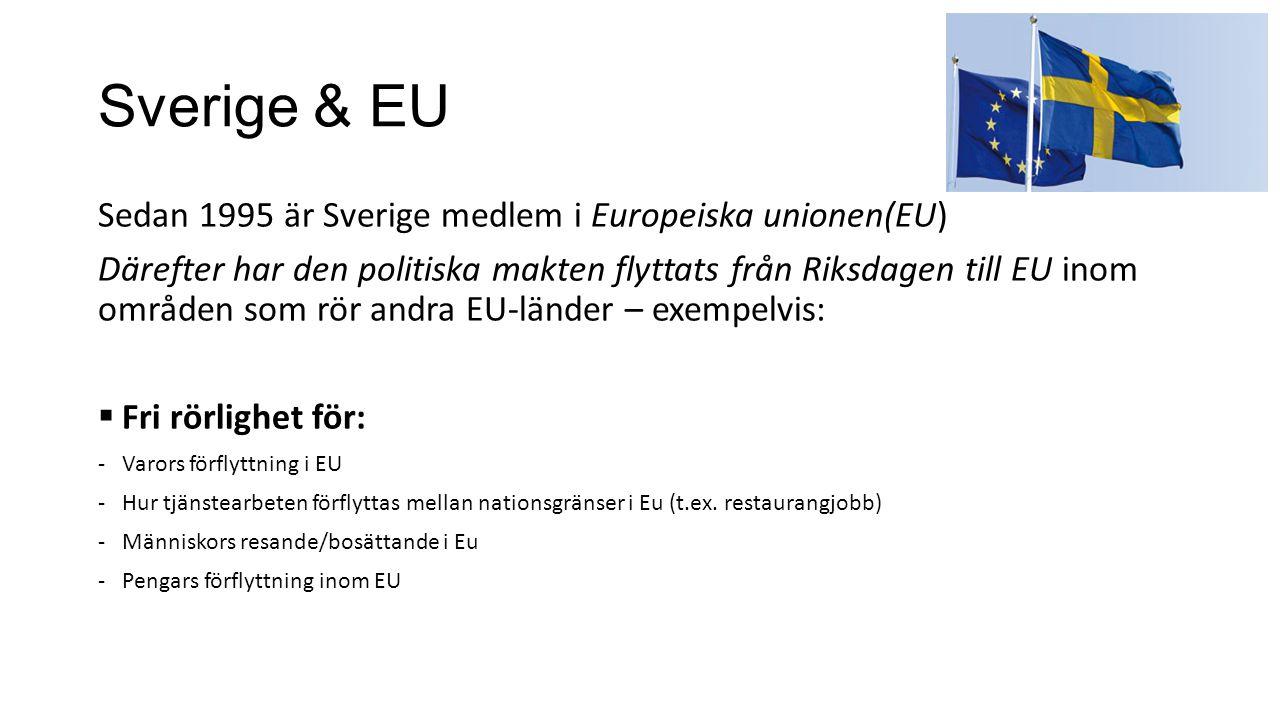 Sverige & EU Sedan 1995 är Sverige medlem i Europeiska unionen(EU)
