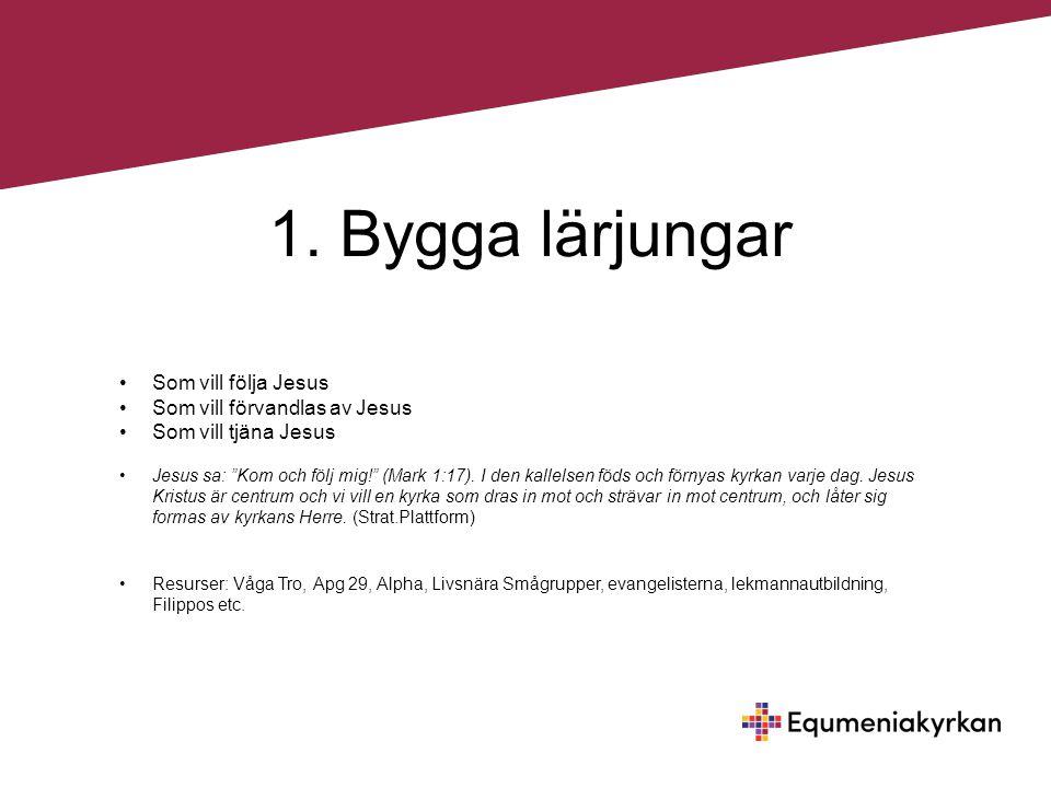 1. Bygga lärjungar Som vill följa Jesus Som vill förvandlas av Jesus