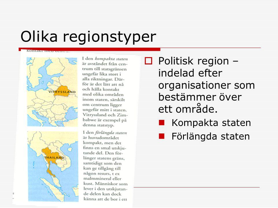 Olika regionstyper Politisk region – indelad efter organisationer som bestämmer över ett område. Kompakta staten.
