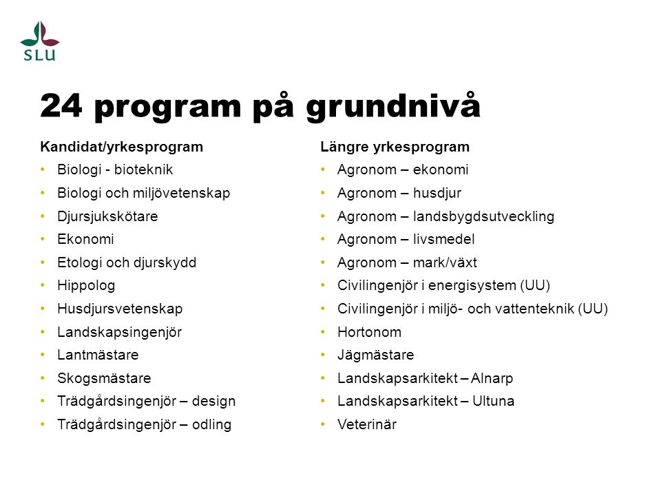 24 program på grundnivå Kandidat/yrkesprogram Biologi - bioteknik