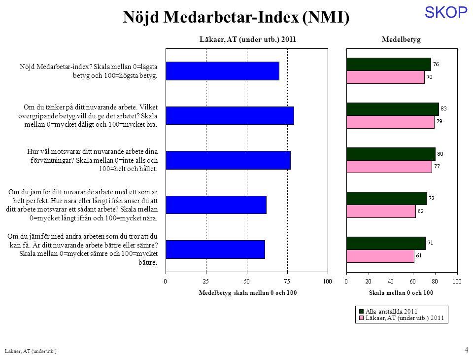 Medelbetyg skala mellan 0 och 100 Nöjd Medarbetar-Index (NMI)