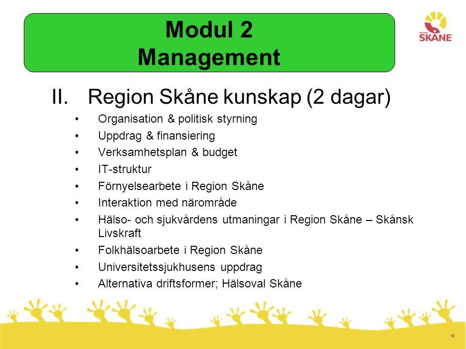 Modul 2 Management Region Skåne kunskap (2 dagar)