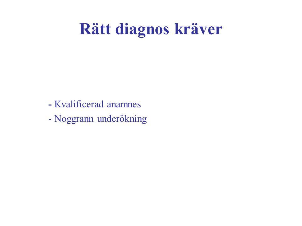 Rätt diagnos kräver - Kvalificerad anamnes - Noggrann underökning