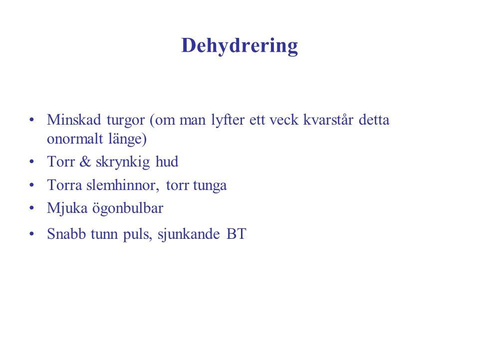 Dehydrering Minskad turgor (om man lyfter ett veck kvarstår detta onormalt länge) Torr & skrynkig hud.