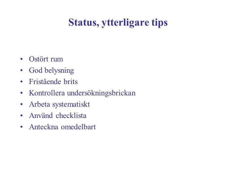 Status, ytterligare tips
