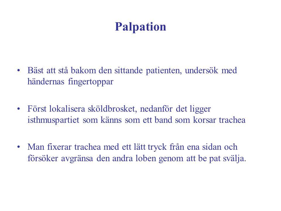 Palpation Bäst att stå bakom den sittande patienten, undersök med händernas fingertoppar.
