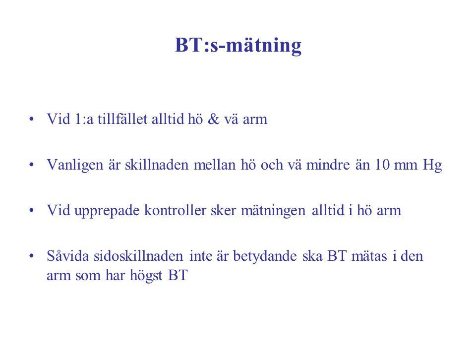 BT:s-mätning Vid 1:a tillfället alltid hö & vä arm