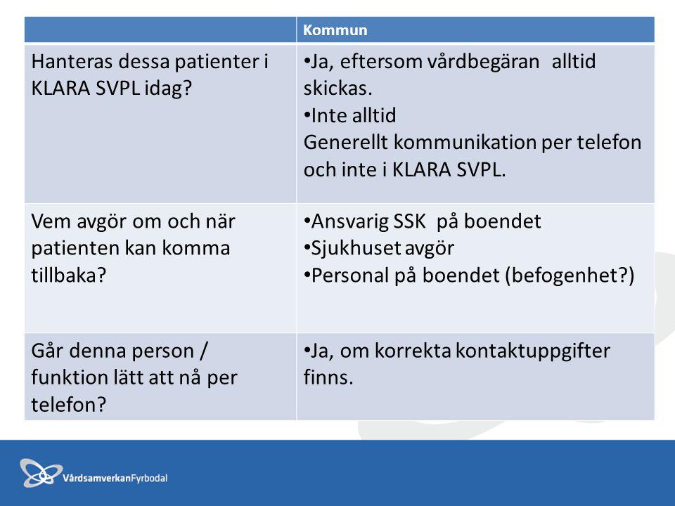 Hanteras dessa patienter i KLARA SVPL idag