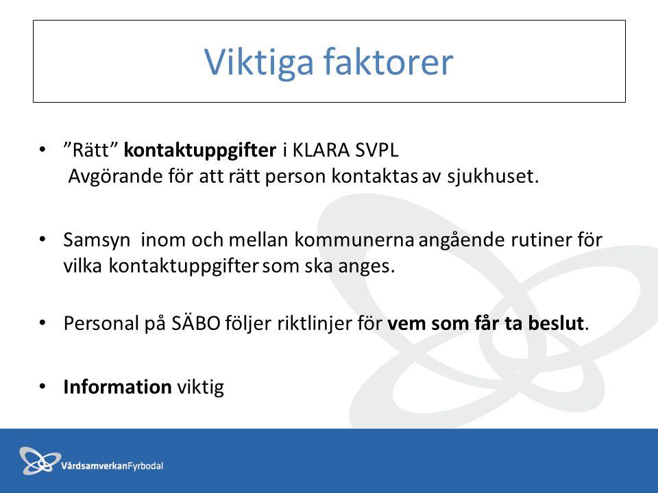Viktiga faktorer Rätt kontaktuppgifter i KLARA SVPL Avgörande för att rätt person kontaktas av sjukhuset.