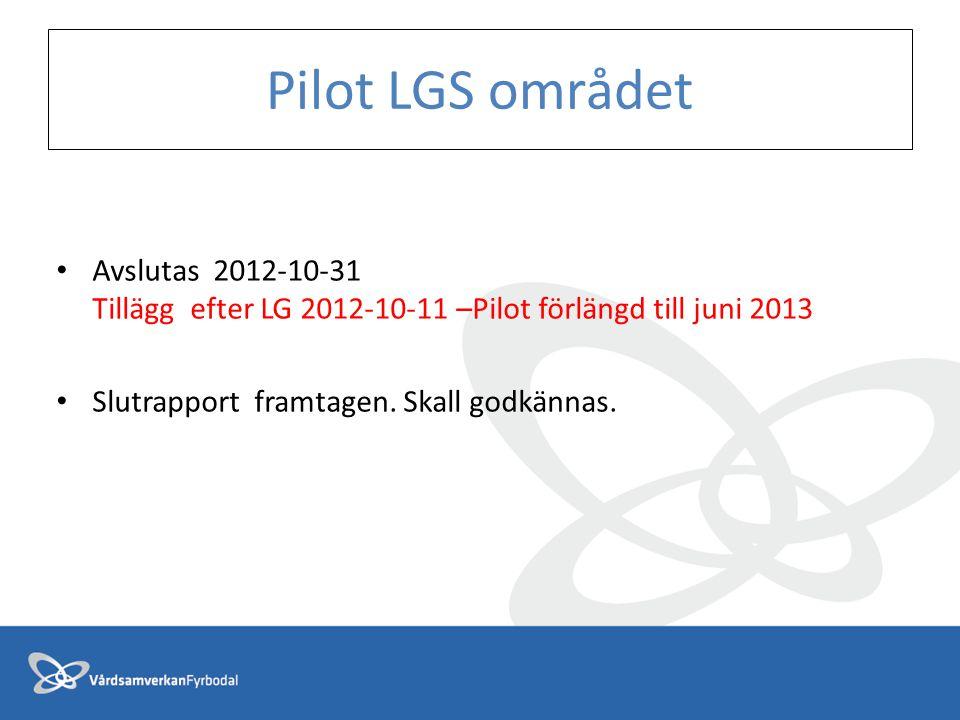 Pilot LGS området Avslutas 2012-10-31 Tillägg efter LG 2012-10-11 –Pilot förlängd till juni 2013.