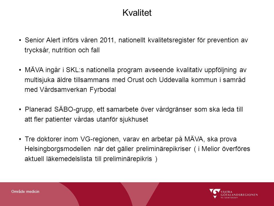 Kvalitet Senior Alert införs våren 2011, nationellt kvalitetsregister för prevention av. trycksår, nutrition och fall.