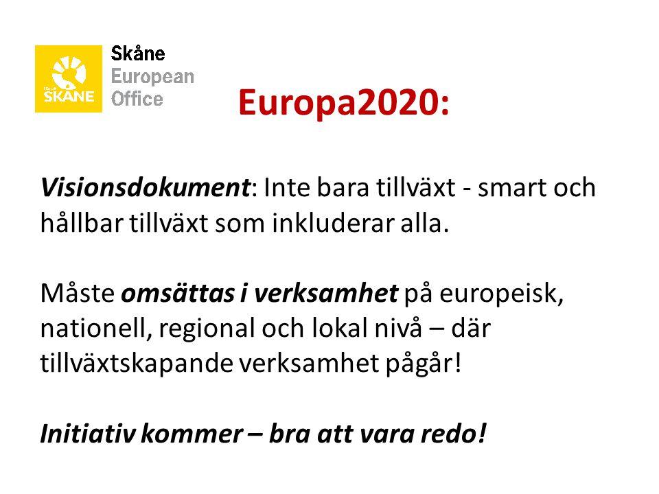 Europa2020: Visionsdokument: Inte bara tillväxt - smart och hållbar tillväxt som inkluderar alla.