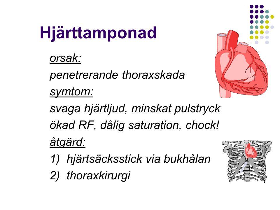 Hjärttamponad orsak: penetrerande thoraxskada symtom: