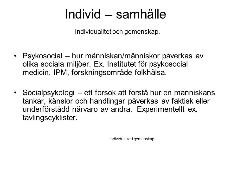 Individ – samhälle Individualitet och gemenskap.