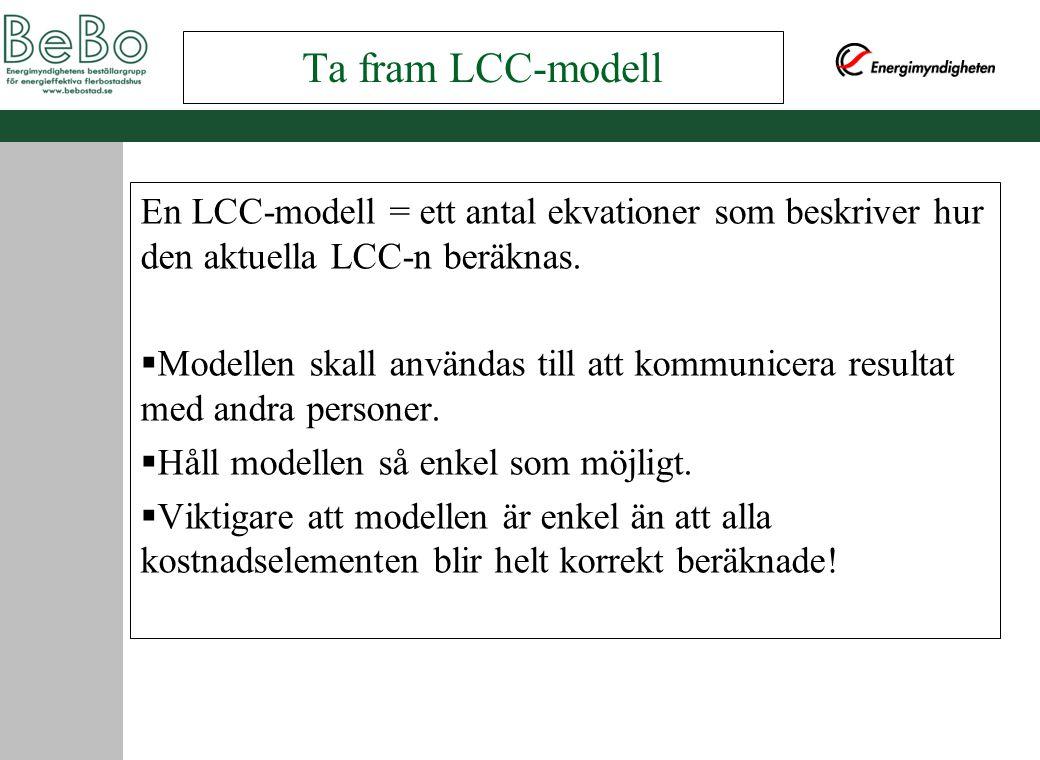 Ta fram LCC-modell En LCC-modell = ett antal ekvationer som beskriver hur den aktuella LCC-n beräknas.