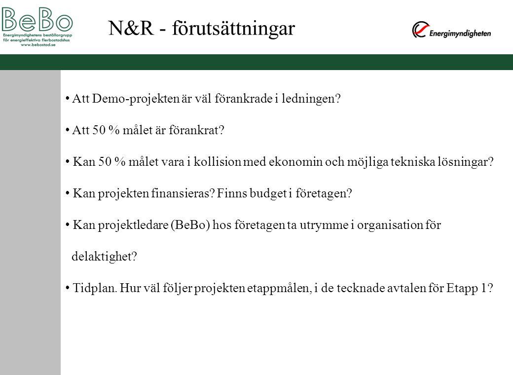 N&R - förutsättningar Att Demo-projekten är väl förankrade i ledningen Att 50 % målet är förankrat