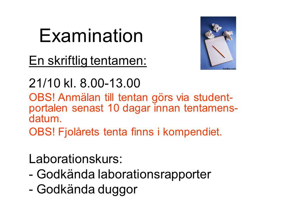 Examination En skriftlig tentamen: 21/10 kl. 8.00-13.00