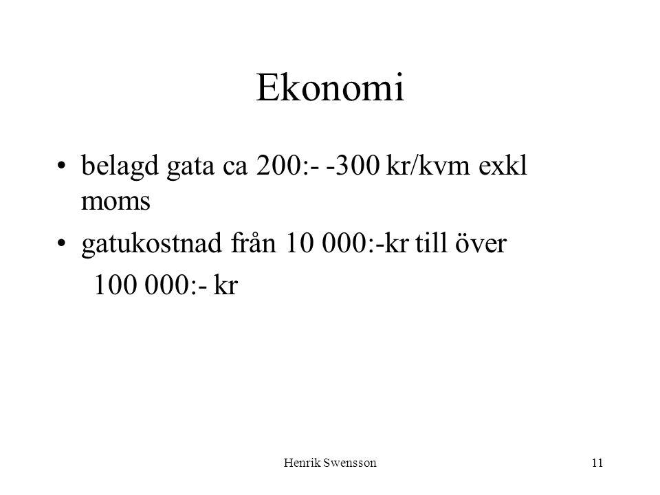 Ekonomi belagd gata ca 200:- -300 kr/kvm exkl moms