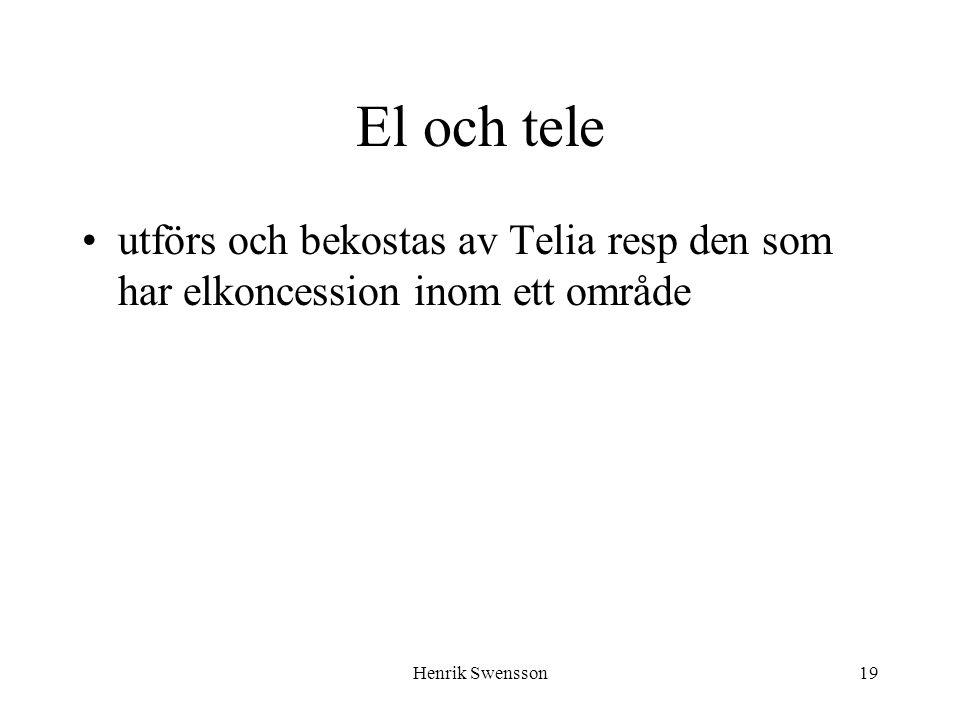 El och tele utförs och bekostas av Telia resp den som har elkoncession inom ett område.