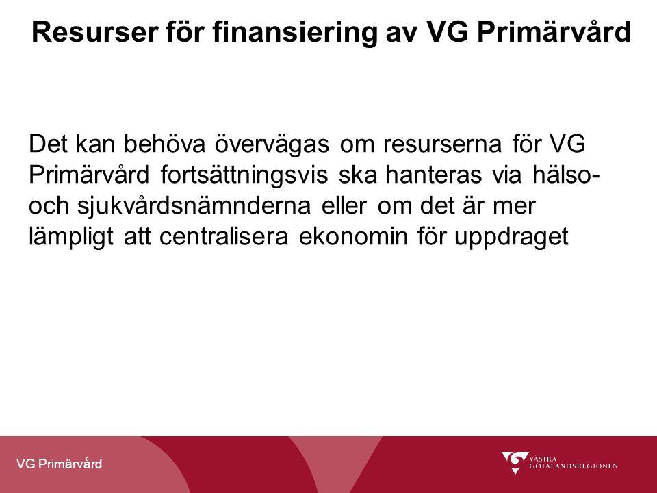 Resurser för finansiering av VG Primärvård