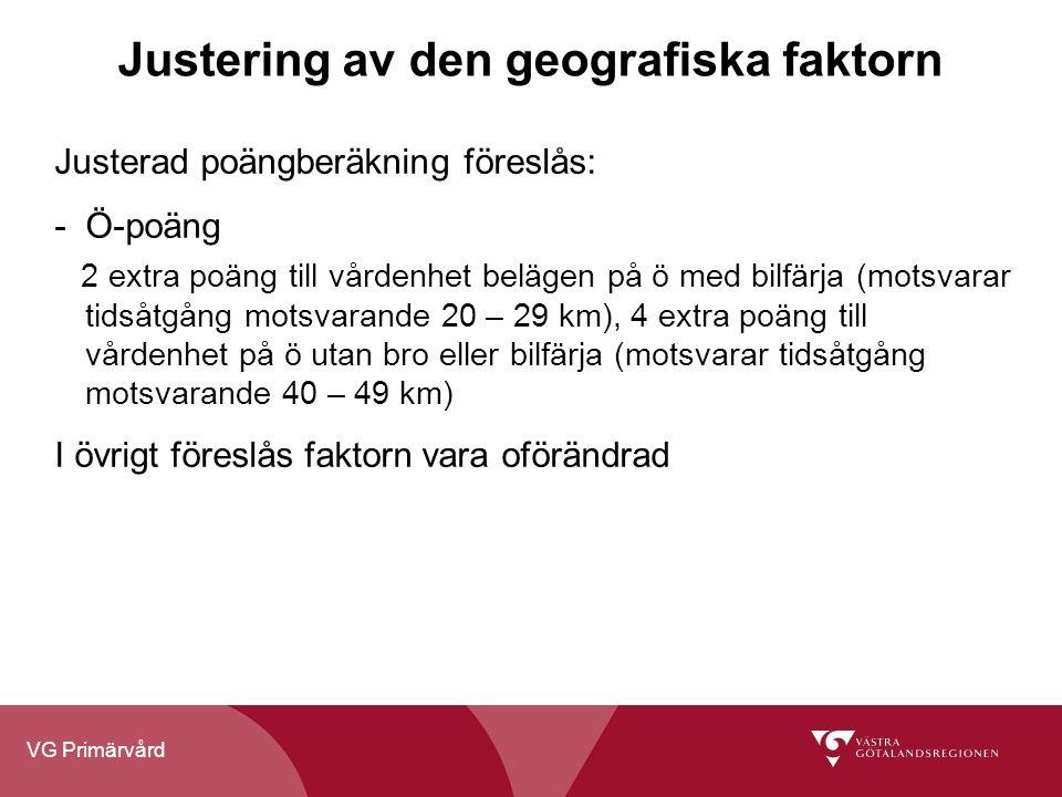 Justering av den geografiska faktorn