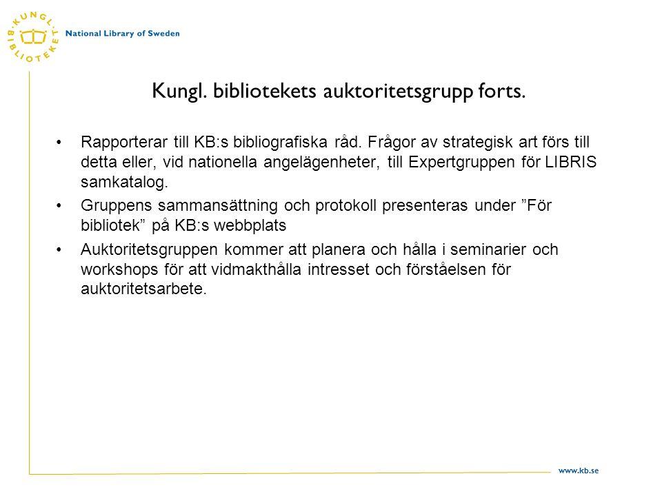 Kungl. bibliotekets auktoritetsgrupp forts.