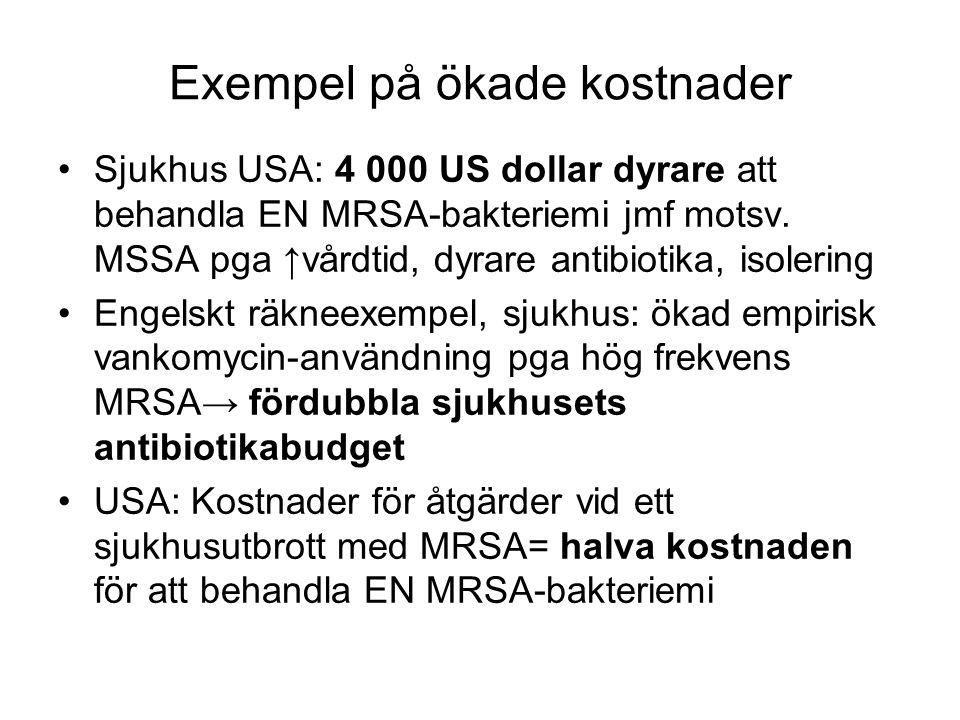 Exempel på ökade kostnader