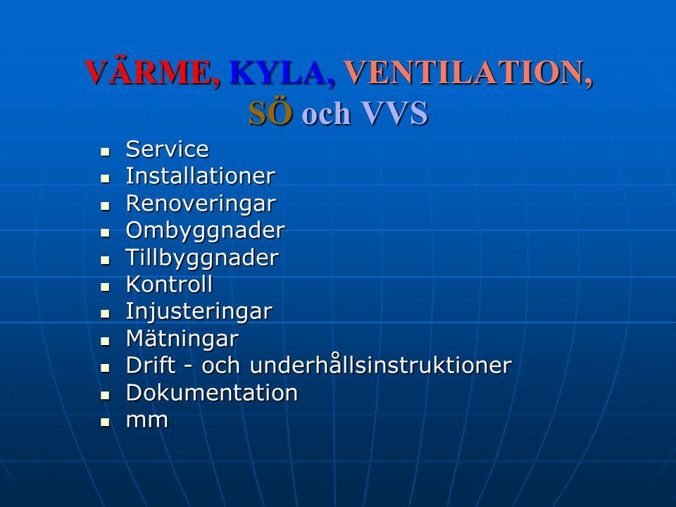 VÄRME, KYLA, VENTILATION, SÖ och VVS