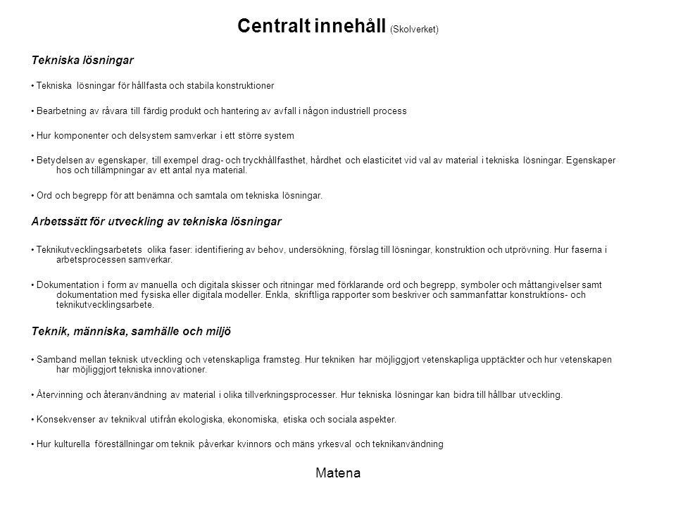 Centralt innehåll (Skolverket)