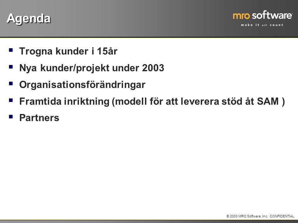 Agenda Trogna kunder i 15år Nya kunder/projekt under 2003