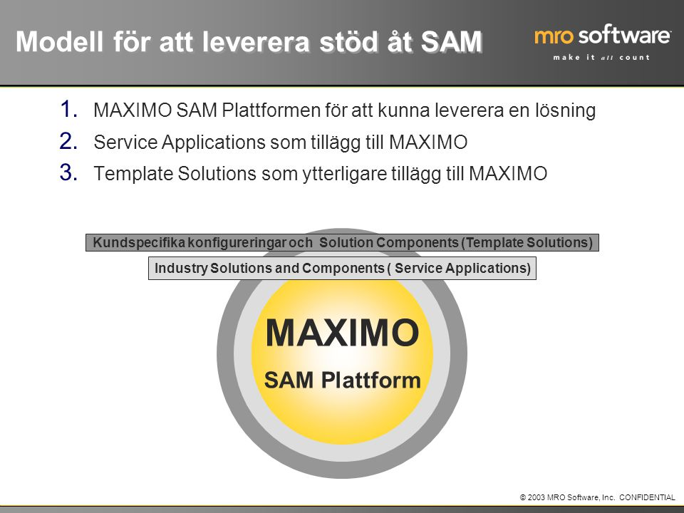 Modell för att leverera stöd åt SAM