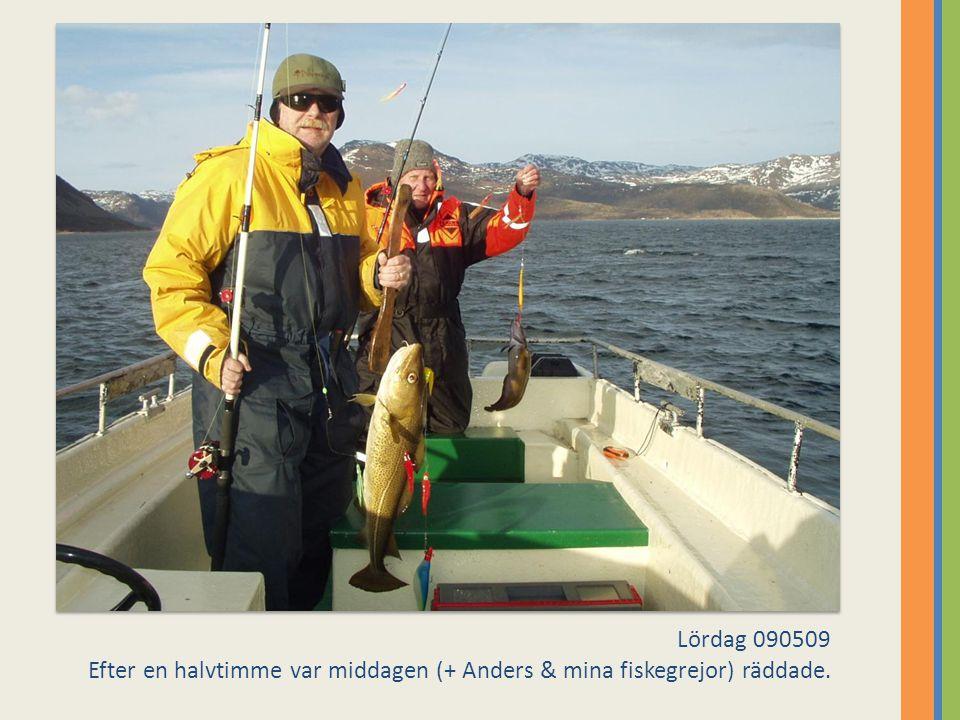 Lördag 090509 Efter en halvtimme var middagen (+ Anders & mina fiskegrejor) räddade.